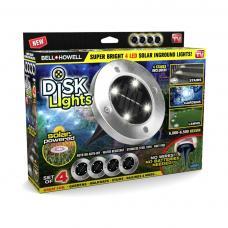 Подсветка на солнечных батареях Disk Lights 4 шт