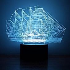 3D LED Светильник Корабль оптом