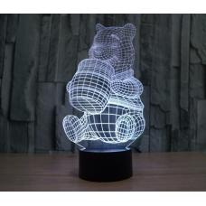 Объемный 3D светильник Медведь Винни-Пух оптом