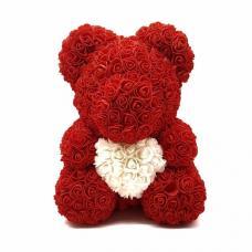 Мишка из 3D роз 40 см с сердцем